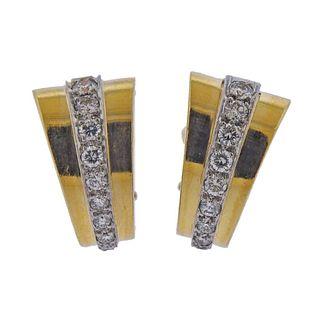 18k Gold Platinum Diamond Half Hoop Earrings