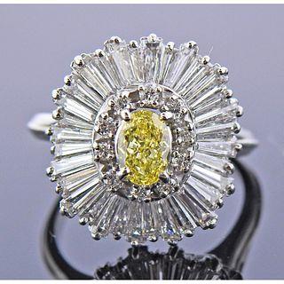 Platinum Fancy Yellow Diamond Ballerina Ring