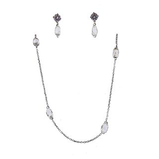 14k Gold Briolette Diamond Necklace Earrings Set