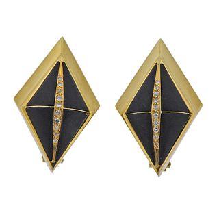 Rosa Bisbe 18k Gold Diamond Jet Earrings