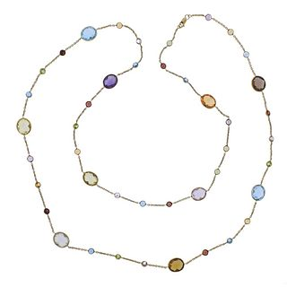 14k Gold Multi Gemstone Long Necklace
