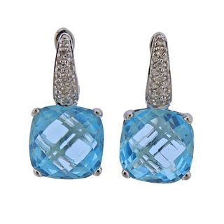 14k Gold Blue Topaz Diamond Earrings