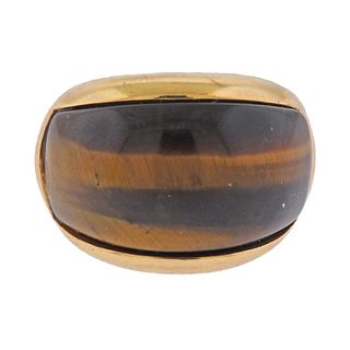 1970s 14k Gold Tiger's Eye Dome Ring