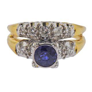 14k Gold Diamond Sapphire Bridal Ring Set