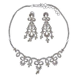 18k Gold Diamond Necklace Earrings Set