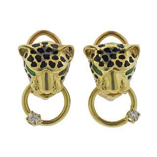 14k Gold Diamond Enamel Panther Earrings