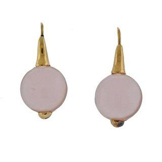 14k Gold Rose Quartz Earrings