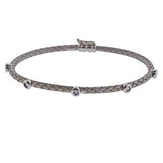 Italian 18k Gold Diamond Braided Bangle Bracelet