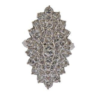 14k Gold 4.00ctw Diamond Cluster Ring