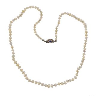 Art Deco 14k Gold Silver Natural Pearl Sapphire Necklace