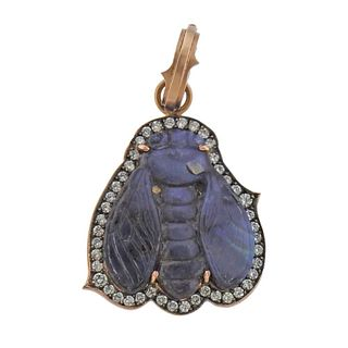 Sylva & Cie 14k Gold Diamond Carved Opal Insect Pendant