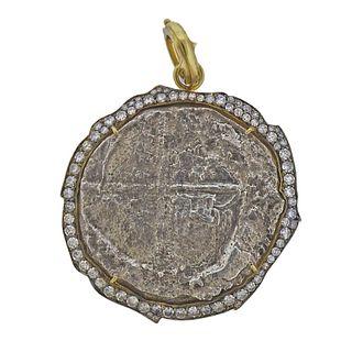Sylva & Cie 14k Gold Nuestra de Atocha Ancient Coin Diamond Pendant
