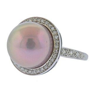 Mimi Milano 18k Gold Pearl Diamond Ring