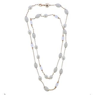 Mimi Milano Gold White Agate Crystal Pearl Necklace