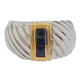 Sterling Silver 18k Gold Amethyst Ring