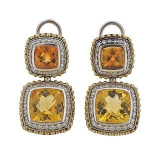 Lagos Caviar Sterling Silver 18k Gold Citrine Diamond Earrings