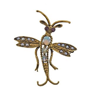 14k Gold Opal Pearl Ruby Insect Brooch