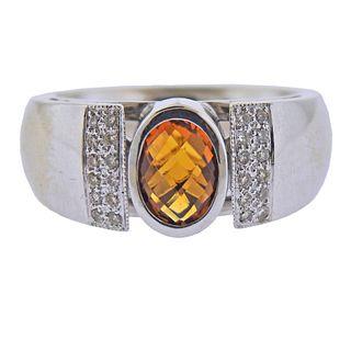 14k Gold Diamond Citrine Ring