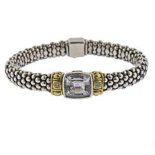 Lagos Caviar Sterling Silver 18k Topaz Diamond Bracelet