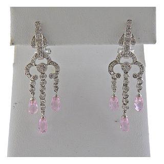 14k Gold Diamond Pink Gemstone Drop Earrings