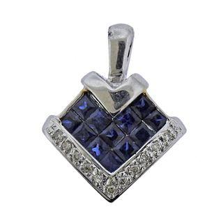 18k Gold Diamond Sapphire Pendant