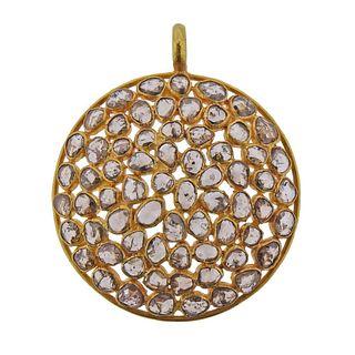 18k Gold Rose Cut Diamond Pendant