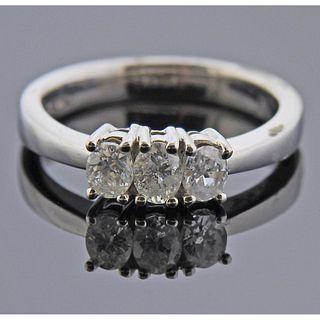 14k Gold Three Stone Diamond Ring