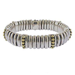 Lagos Caviar Sterling Silver 18k Gold Bracelet