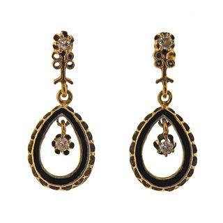 Antique 14k Gold Enamel Diamond Dangle Earrings