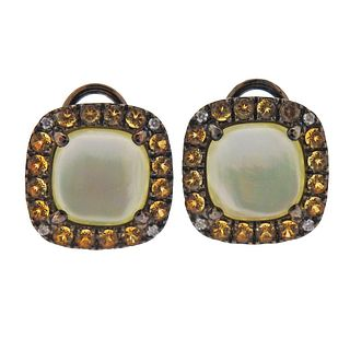 Zoccai 18k Gold Citrine Diamond Mother Of Pearl Earrings