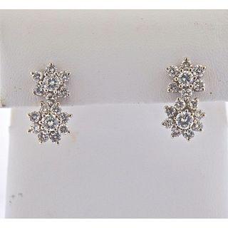 14k Gold Diamond Cluster Earrings