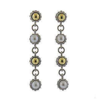 Lagos Caviar Sterling Silver 18k Gold Pearl Earrings