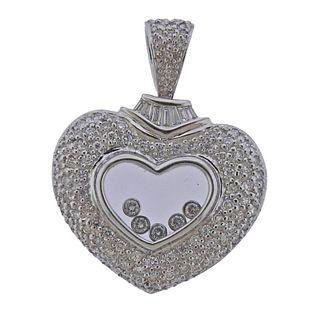 18k Gold Floating Diamond Heart Pendant