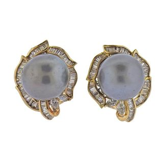 14k Gold South Seal Tahitian Pearl Diamond Earrings