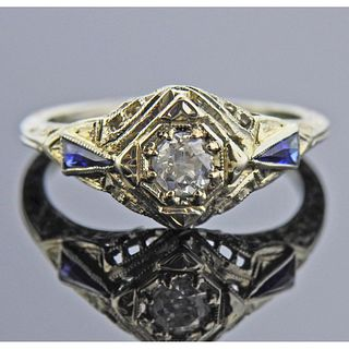 Art Deco Filigree 18k Gold Diamond Sapphire Ring