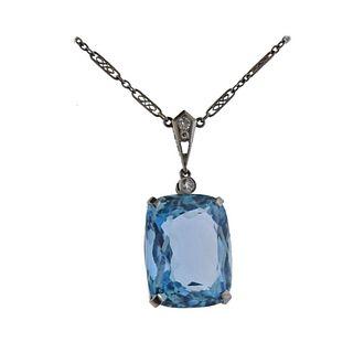 Art Deco Platinum Aquamarine Diamond Necklace