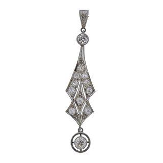 Art Deco Platinum Diamond Pendant