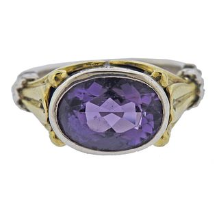 Lagos Caviar Sterling Silver 18k Gold Amethyst Ring