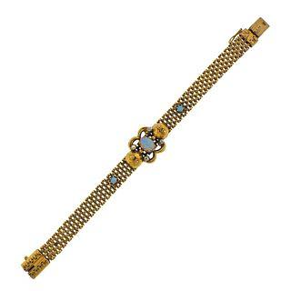 Antique Victorian Gold Opal Diamond Bracelet