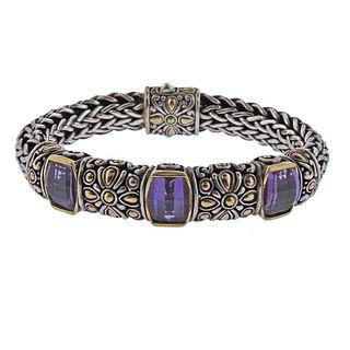 John Hardy 18k Gold Sterling Silver Amethyst Bracelet