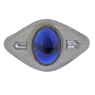 Art Deco Platinum Sapphire Diamond Gypsy Ring