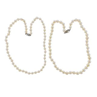 14K 10K Gold Pearl Necklace Lot of 2