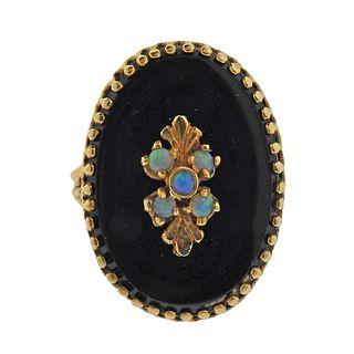 14K Gold Onyx Opal Ring