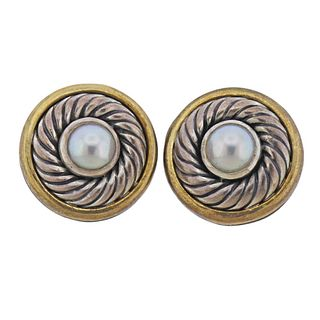 David Yurman 14k Gold Silver Pearl Cookie Clip on Earrings