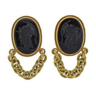 Vahe Naltchayan 18K Yellow Gold Onyx Intaglio Dangle Clip On Earrings