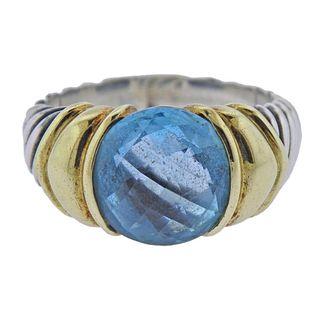 David Yurman 14K Gold Silver Blue Topaz Ring