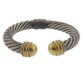 David Yurman Silver 14K Gold Classic Cuff Cable Bracelet