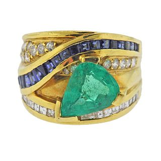 18K Gold Diamond Sapphire Emerald Wide Band Ring