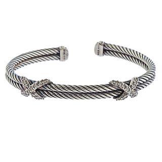David Yurman Sterling Silver Diamond X Cuff Bracelet