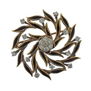 14K Gold Diamond Enamel Brooch Pin